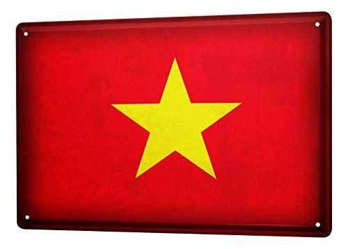 LEotiE SINCE 2004 Blechschild Dekoschild Küche Garage Welt Reise Vietnam Flagge Wand Deko Schild 20X30 cm