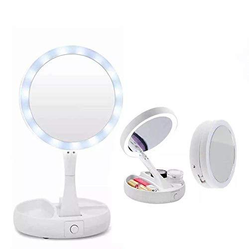 Espelho Maquiagem Dupla Face Luz Led FH-803 Emson Dobrável Gira Aumento 10x Organizador