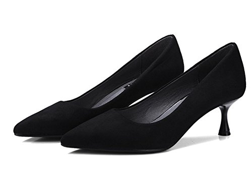 AISHUAIGE Spring Summer Halbhoher Absatz Damen Pumps High Heels Fashion Nightclubs High Heels 5cm Pumps 34-38, Black