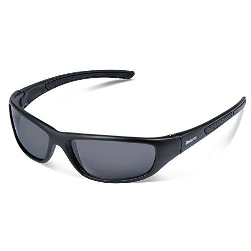 Duduma Gafas de Sol Deportivas Polarizadas Para Hombre Perfectas Para Esquiar Golf Correr Ciclismo TR8116 Súper Liviana Para Hombre y Para Mujer (marco mate negro con lente negro)
