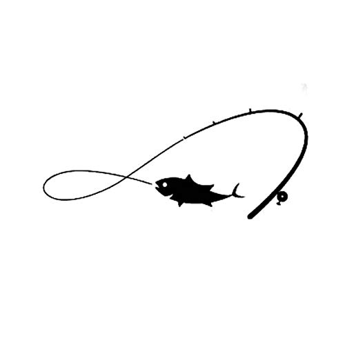 DSRLO Autocollant De Voiture 13 cm * 5,4 cm Mode pêche Canne à pêche pêcheur Poisson Passe-Temps pour Hommes Vinyle Voiture fenêtre Autocollant Autocollants Noir Argent