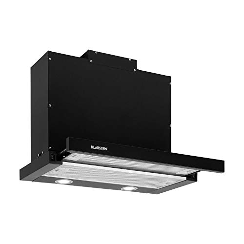 Klarstein Mariana - Flachschirmhaube, EEK C, Umluft & Abluft, LED-Beleuchtung, Drucktasten, Unterbau-Dunstabzugshaube, 500 m³/h, 60 cm, schwarz