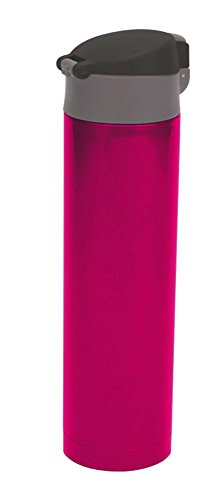 Culinario Thermoflasche mit klick-Deckel, aus Edelstahl/Kunststoff, doppelwandig, trendiges Design, ca. 0,45 Liter, in pink
