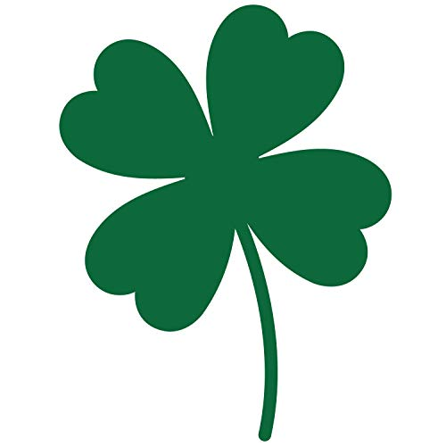 Four Leaf Clover Shamrock 4-Leaf Vinyl Decal Sticker Car Window Bumper Die Cut 5.5-Inches Premium Quality UV Resistant No Background Luck of The Irishb (5.5 Inches, Forest Green)