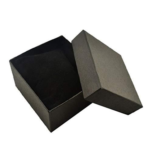 collectsound Quadratische Aufbewahrungsbox aus Karton, für Uhren, Armreifen, Schmuck, Geschenkbox mit Kissen, Schwarz