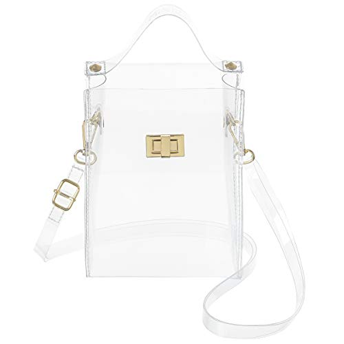 MINICAT Clear Small Crossbody Bags Stadium Approved Cell Phone Jelly Purse Shoulder Bag For Women(Clear-Vertical)