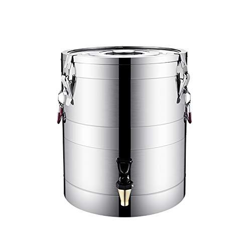 Ollas rectas Cubo sellado de acero inoxidable 304, con grifo, doble capa engrosada de gran capacidad, conservación de calor de 24 horas altamente sellada. ( Color : Silver , Size : 43cm*55cm(80L) )