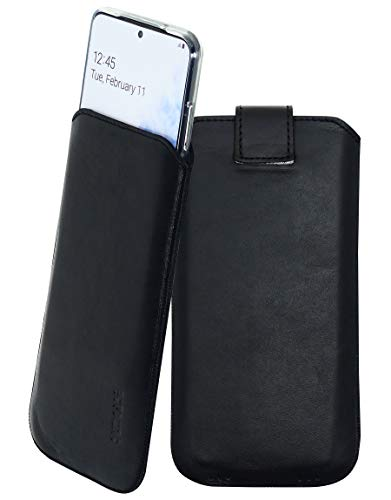 Suncase Etui Tasche kompatibel mit Samsung Galaxy A32 5G Hülle mit ZUSÄTZLICHER Hülle/Schale/Bumper Lasche mit Rückzugfunktion Handytasche Ledertasche Schutzhülle in schwarz