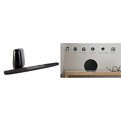 Polk Audio Command Bar Soundbar System mit Subwoofer, Amazon Alexa Sprachsteuerung, HDMI ARC, 4K, Multiroom, Dolby Surround Sound, DTS & Echo Dot (4. Generation) |Anthrazit