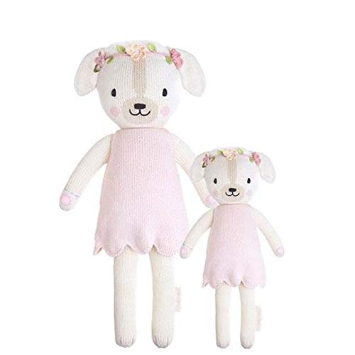 """CUDDLE + KIND Charlotte The Dog Little 13"""" Hand-Knit Doll – 1 Doll = 10 Meals, Fair Trade, Heirloom Quality, Handcrafted in Peru, 100% Cotton Yarn"""