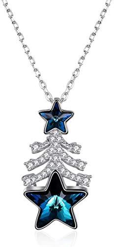 JIUJIN S925 Silver Crystal Christmas Tree Star necklace galvanized punk rock casting pendant aviation 60 cm Blue