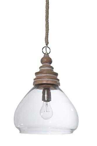 Creative Co-Op Glass and Mango Wood Ceiling Pendant Light, 11