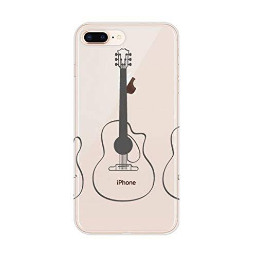 DIYthinker Gitaar Muziek Instrumenten Combinatie Gitaar Apple iPhone 7/8 Telefoonhoesje Flexibele Zachte Slim Transparant Cover