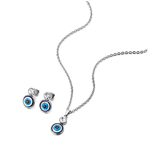 COOLSTEELANDBEYOND Womens Steel Small Evil Eye Protection Pendant Necklace...