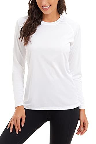 SMENG Camiseta de manga larga con protección solar UPF 50+ para mujer de secado rápido - blanco - Medium