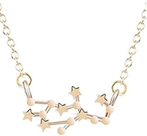 ZGYFJCH Co.,ltd Collar con 12 Pinturas de Estrellas, Collar del Zodiaco para Mujer, joyería de Oro, Colgante de Leo Libra, Collar de horóscopo de Aries, Regalos