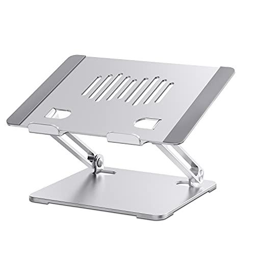 Hiyoo PCスタンド ノートパソコンスタンド タブレットスタンド 無段階高さ調整可能 高さ・角度を自由に調節可能 折りたたみ式 収納可能 持ち運び便利 滑り止め アルミ合金製 優れた放熱性 10-17.3インチに対応 ノートPC/タブレットなどに対応スタンド 在宅勤務 リモート授業