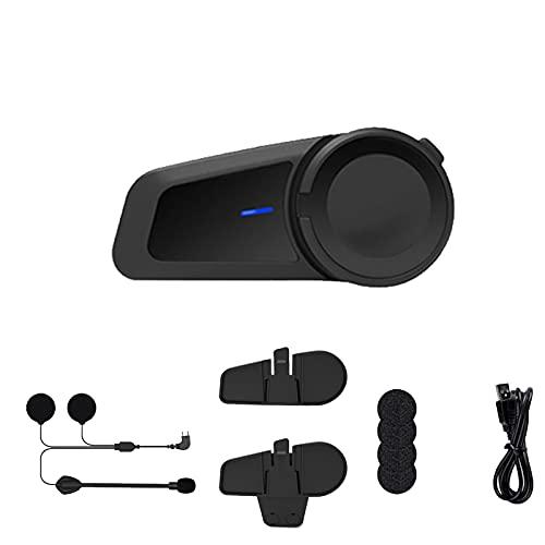 SUOTENG Sistema de comunicación de la Motocicleta, Casco de intercomunicación de Motocicletas Auriculares 6 Riders Group Talking Intercom FM Bluetooth 5.0 Compatible con Cualquier Auricular Bluetooth