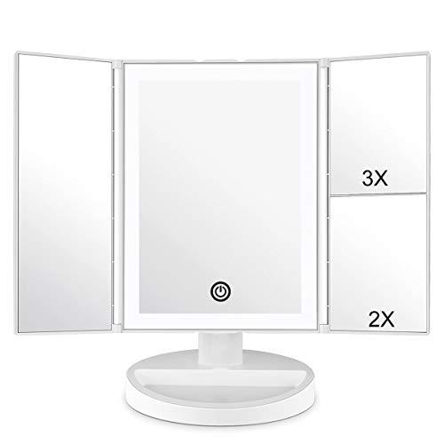 WEILY Schminkspiegel, Kosmetikspiegel mit LED-Licht, Dreifach gefaltete 1x,2X,3X Vergrößerung,36 natürliche LED-Leuchten und Touchscreen-Schalter Batterie- und USB-betriebener Kosmetikspiegel (weiß)
