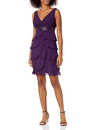 Chaps Women's Tiered Georgette Dress, Eggplant, 8 (Apparel)