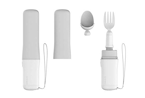 GYENNO Parkinson Spoon and Fork Functional Product for all kinds of meal 360 degree stabilization solution, offsetting 85% unwanted tremor (grey-white)