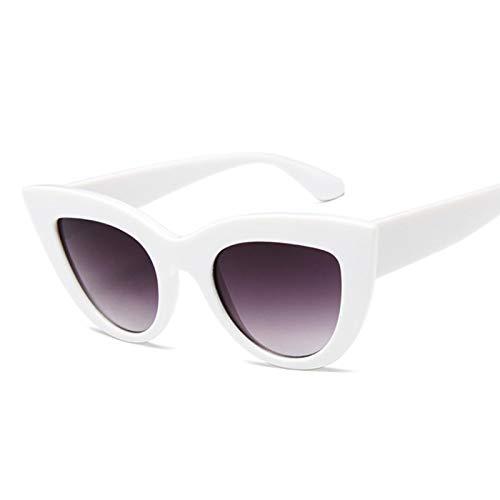 ShZyywrl Gafas De Sol Gafas De Sol De Moda Retro para Mujer, Vintage, Ojo De Gato, Negras, Gafas De Sol para Mujer, Uv400, Blanco, Gris