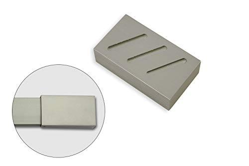 Gardinia Struktur, 2 x Endstück, Aluminium, chrom, für Aluminiumprofil mit Innenlauf Luxor rechteckig, stahl-gebrüstet, 7 x 4 x 2 cm, 2