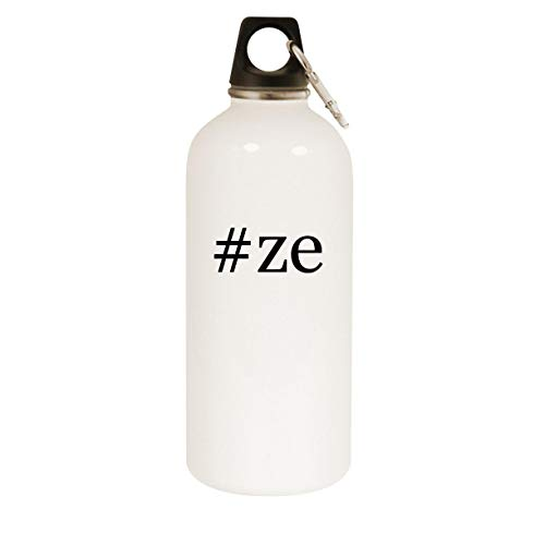 #ze - 20oz Hashtag Stainless Steel White Water Bottle with Carabiner, White