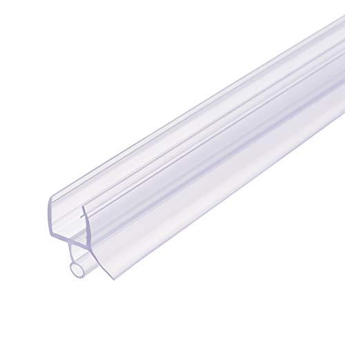 uxcell Barra de puerta de ducha de cristal sin marco, tira de sellado lateral inferior de puerta con riel de goteo de 15/32 pulgadas, vidrio de 15/32 pulgadas x 27.56 pulgadas de longitud