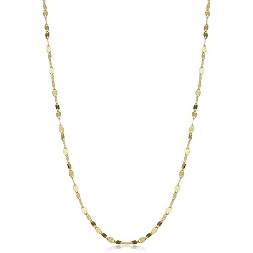 Kooljewelry 14k Solid Yellow Gold Flat Link Mirror Chain Necklace (1.9 mm, 16 inch)