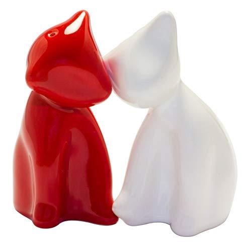 Salzstreuer Die verschmusten Katzen dunkelrot/weiss