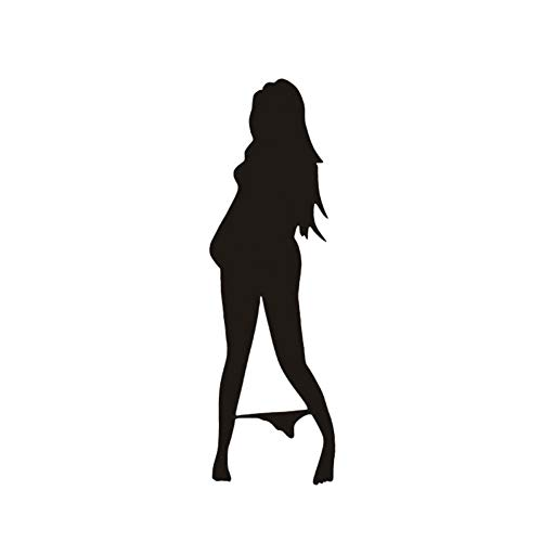 GQQ Autosticker, grappige Mooie vrouw in bikini-decoratieve wandsticker, carikatuur, autostickers, zwart/zilver, 2 stuks A