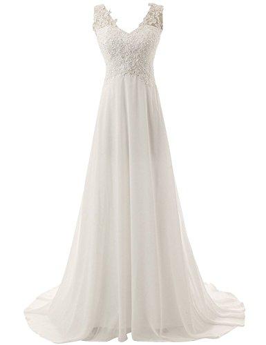JAEDEN Brautkleid Lang Hochzeitskleider Spitze Strand Damen Brautmode Chiffon V-Ausschnitt Elfenbein EUR34