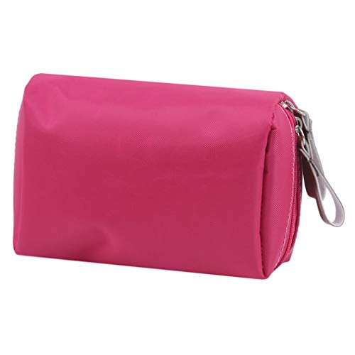 Yeucan Nylon Cosmetic Bag Solid Colour Makeup Bag Carrying Toiletry Bag Portable Organizer Case,Rose Red