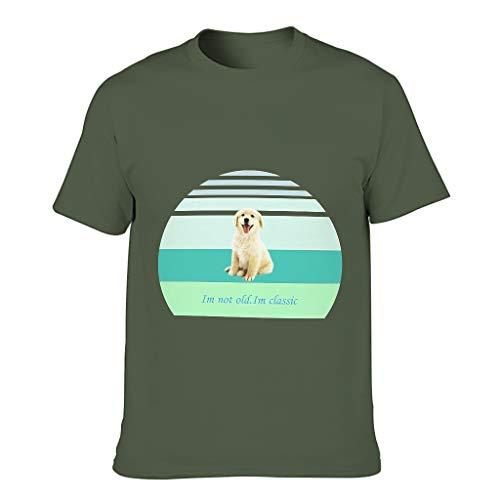 Camiseta de algodón para hombre con texto en alemán 'Ich nicht alt'. En clásico multicolor de alta calidad – Animales de manga corta verde militar L