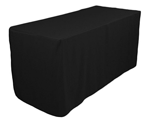 TEKTRUM 4-Feet Long Fitted Table DJ Jacket Cover for Trade Show - Thick/Heavy Duty/Durable Fabric - Black Color (TD-JKT-BLK-4FT)