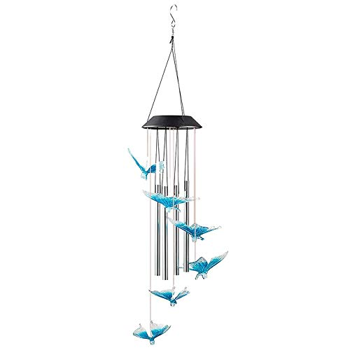 Huante Blue Butterfly Solar Wind Chimes for Outside - with 4 Music Aluminum Tubes LED WindChimes Waterproof Hanging Lights