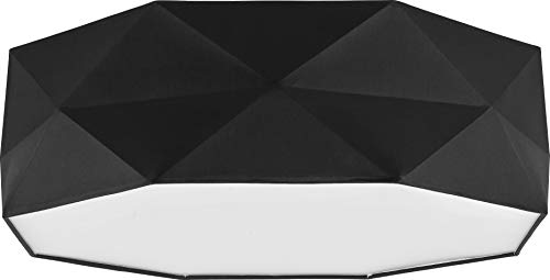 Deckenlampe Lampe 52 cm Deckenleuchte 4 x E27 Schlafzimmer weiß schwarz grau Deckenleuchte für Wohnzimmer, Flur, Esszimmer, Schlazimmer 230V Leuchtmittel Metall Stoff (Schwarz 1567)