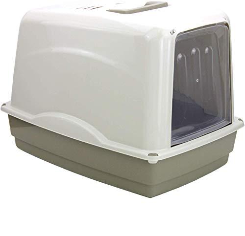 XXL Katzenklo mit Haube geschlossen + Streuschaufel Katzen Klo WC Katzentoilette Toilette Farbe Grau Lennox