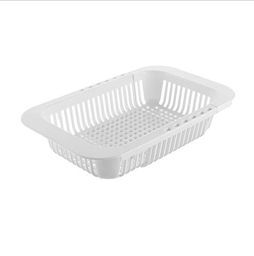 Rack de desagüe de fregadero de cocina retráctil plástico plato cuadrado de plato de vegetal de almacenamiento de vegetales White