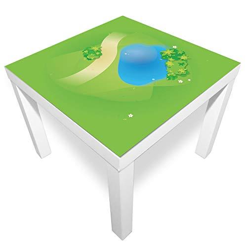 playmatt Spielmatte - Graslandschaft mit Teich | rutschfest | 100% schadstofffrei | waschbar