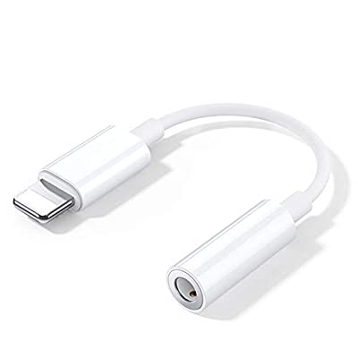for iPhone to 3.5mm Headphone Jack Adapter Aux Headset Converter Accessories Cable Audio Splitter Plug And Play Compatible with for iPhone 11/X/XS/XSMax/XR/8/8P/7P/7 Support All iOS-White from ULMAGECHT