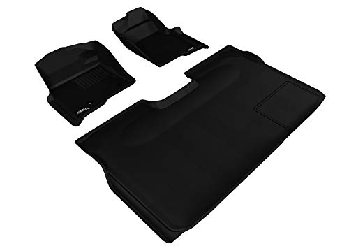 3D MAXpider - L1FR07201509 Complete Set Custom Fit All-Weather Floor Mat for Select Ford F-150 Models - Kagu Rubber (Black)