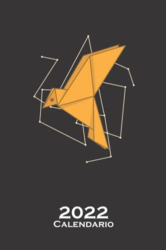 Pájaro de origami como papel Calendario 2022: Calendario anual para Abanicos japoneses de papel plegado