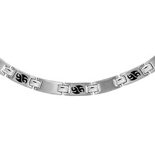 FranceBijoux-Collana a catena da uomo, in acciaio inossidabile, motivo tribale, colore: nero 53 cm & regolabile, 7 mm, nuovo