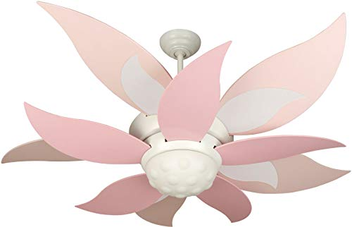 """Bloom 52"""" Ceiling Fan with CFL Lights and Remote & Wall Control, 10 Blades, White - Craftmade K10368"""