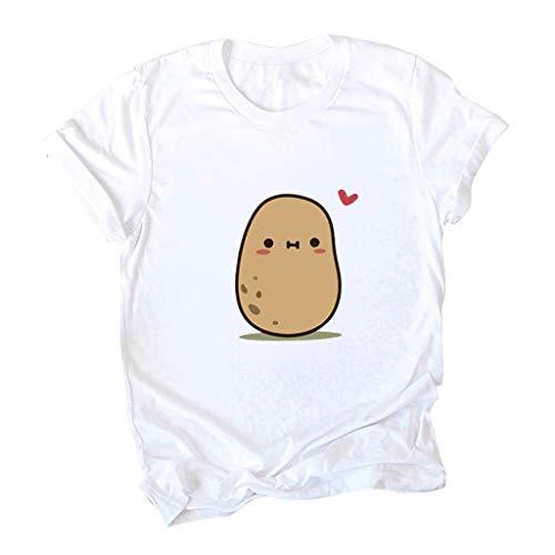 BURFLY Damen Mode Süß Casual T-Shirt Fashion Womens Frühling Sommer O-Neck Kartoffel Drucken Kurzarm Plus GrößE S-5Xl HeißEr Slim Einfarbig Einfach Pullover