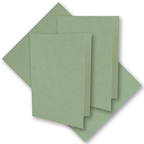 50x Eukalyptus-Grünes Vintage Kraftpapier Falt-Karten 105 x 148 mm - DIN A6 - Natur Eukalyptus-Grün - Recycling - 220 g/m² blanko Klapp-Karten - Umwelt by Gustav NEUSER