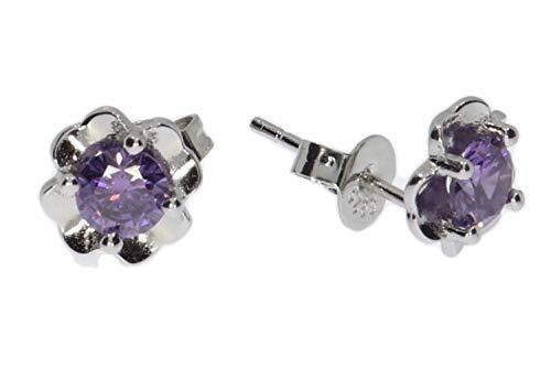 Pendientes con diseño de flores y circonitas, color lila, plata de ley 925, portalámparas HS1109