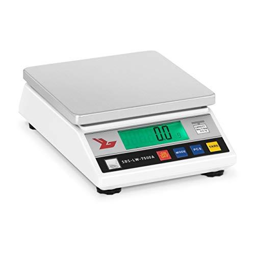 Steinberg Systems Balanza de precisión Báscula digital SBS-LW-7500A (7500 g, Precisión 0,1 g, 4 Funciones, cambio de unidad, 18 x 18cm, Pantalla LCD) Blanca